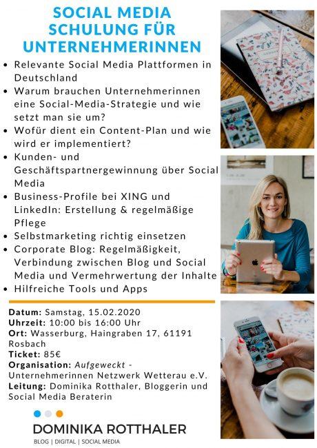 Social Media Schulung für Unternehmerinnen in Rosbach-Wetterau